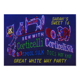 VINTAGE NYC CORTICELLI LIGHT SWEET 16 PARTY INVITE