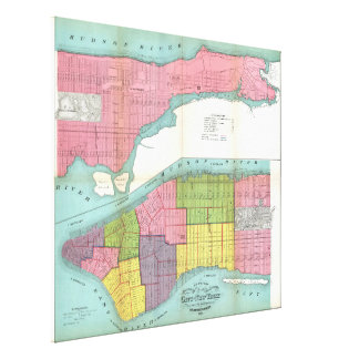 Vintage NYC Fire Department Map (1871) Canvas Print