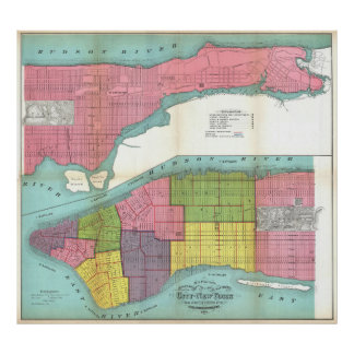 Vintage NYC Fire Department Map (1871) Poster