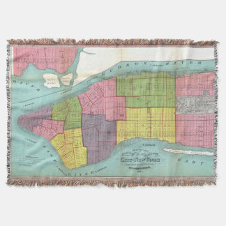 Vintage NYC Fire Department Map (1871) Throw Blanket