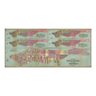 Vintage NYC Political Ward Map (1870) Poster