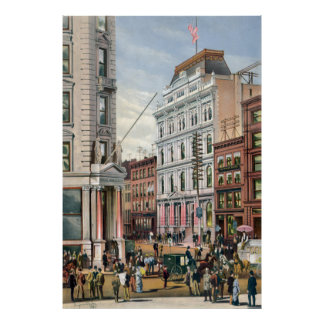 Vintage NYC Stock Exchange Illustration (1882) Poster