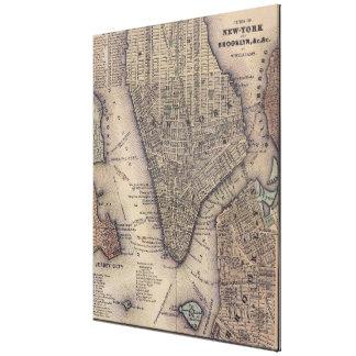 Vintage NYC y mapa de Brooklyn (1847) Lona Envuelta Para Galerias