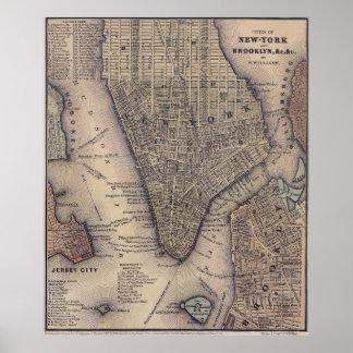 Vintage NYC y mapa de Brooklyn (1847) Póster