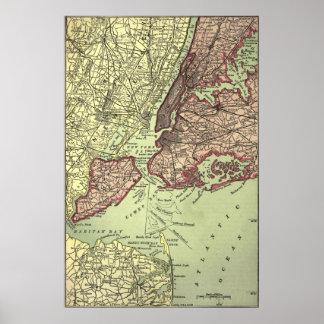 Vintage NYC y mapa de los alrededores (1879) Póster