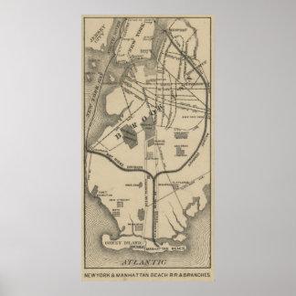 Vintage NYC y playa R.R. Map (1879) de Brooklyn Póster