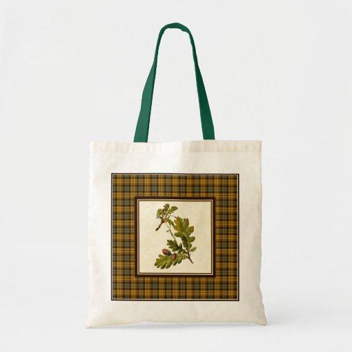 Vintage Oak Leaves with Plaid Tote Bag
