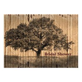 vintage oak tree bridal shower tea party custom announcement