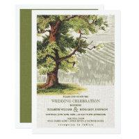 Vintage Oak Tree design Wedding Invitations