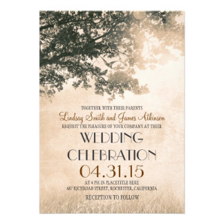 Vintage oak tree & love birds wedding invites