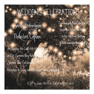Vintage Oak Tree night lights wedding Personalized Invitations