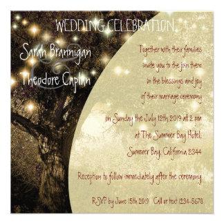 Vintage Oak Tree night lights wedding Custom Invitations