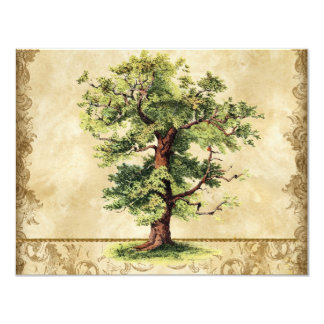 Vintage Oak Tree of Life Swirl Etchings Parchment Card