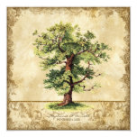 Vintage Oak Tree of Life Swirl Etchings Parchment 5.25x5.25 Square Paper Invitation Card