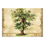 Vintage Oak Tree of Life Swirl Etchings Parchment 3.5x5 Paper Invitation Card