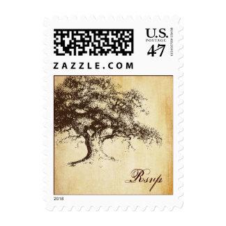 Vintage Oak Tree Rsvp Wedding Postage