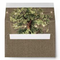 Vintage Oak Tree Rustic Lights Wedding Envelopes