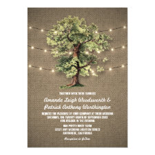 Vintage Oak Tree Rustic Lights Wedding Invitations