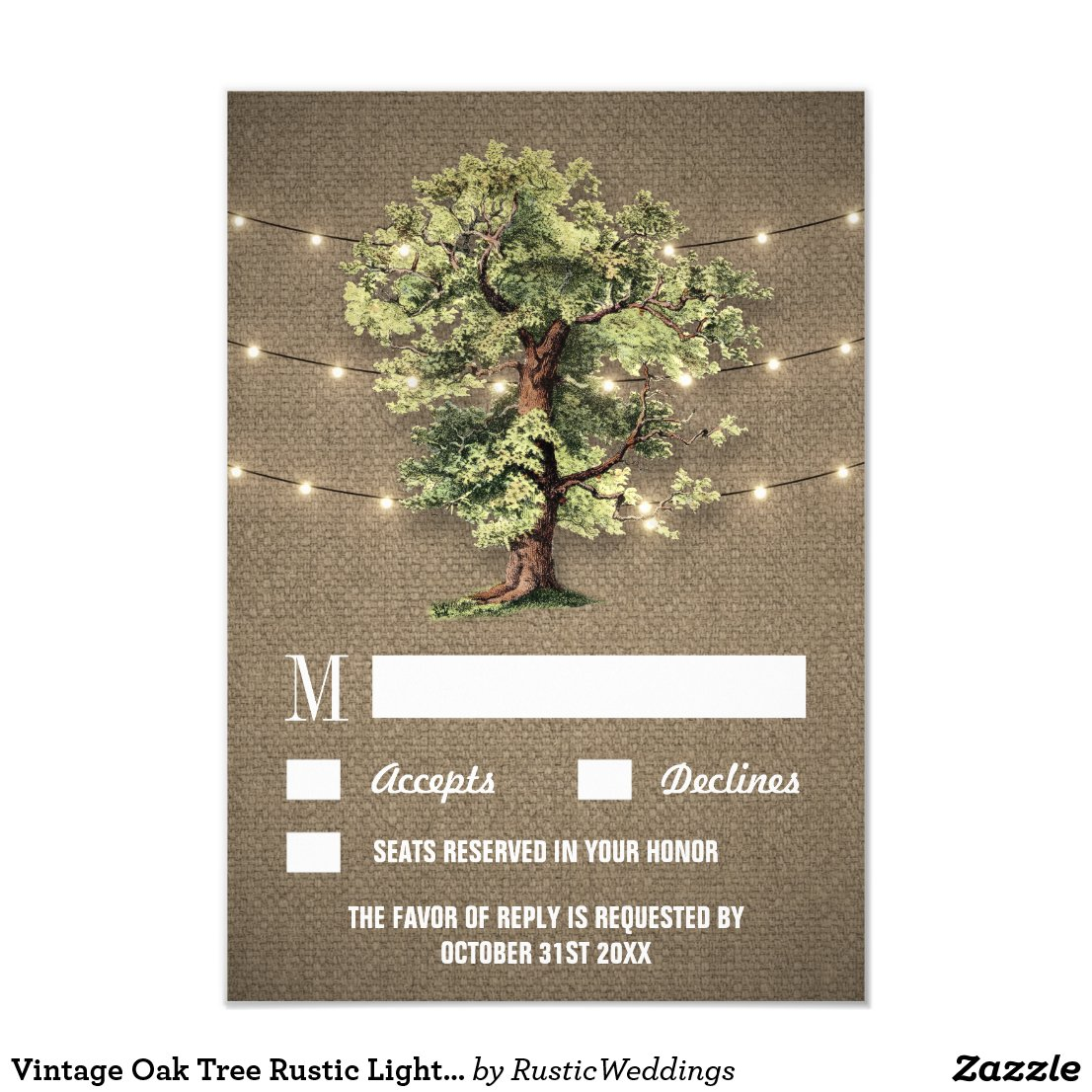 Vintage Oak Tree Rustic Lights Wedding RSVP Cards