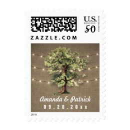 Vintage Oak Tree Rustic Lights Wedding Stamps