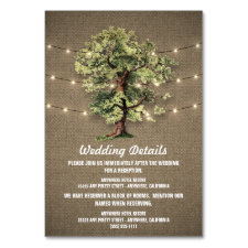 Vintage Oak Tree Rustic Reception + Hotel Cards