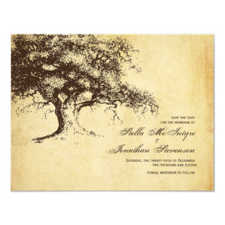 Vintage Oak Tree Save the Date Wedding 4.25x5.5 Paper Invitation Card