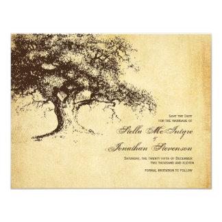 Vintage Oak Tree Save the Date Wedding 4.25x5.5 Paper Invitation Card