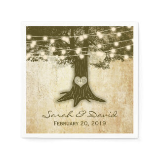 Vintage Oak Tree String Lights Wedding Napkin