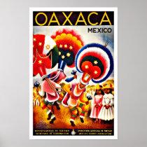 Vintage Oaxaca Dance Festival Mexico Travel Poster