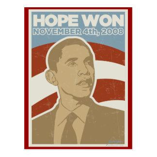 Vintage Obama ganado esperanza Tarjeta Postal