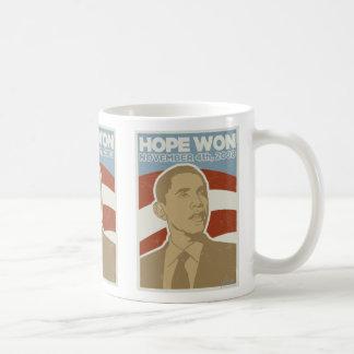 Vintage Obama ganado esperanza Taza