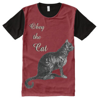 Vintage Obey Tabby Cat Illustration All-Over-Print T-Shirt