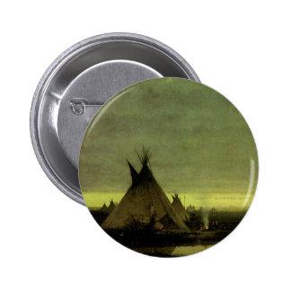 Vintage occidental, campo indio en el amanecer por pin redondo de 2 pulgadas