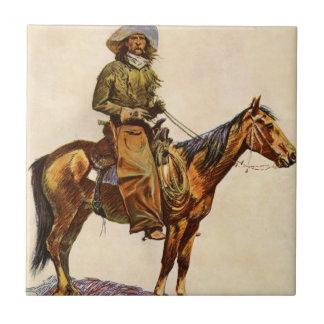 Vintage occidental, vaquero de Arizona por Azulejo Cuadrado Pequeño