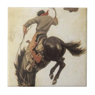 Vintage occidental, vaquero en un caballo Bucking Azulejo Cuadrado Pequeño