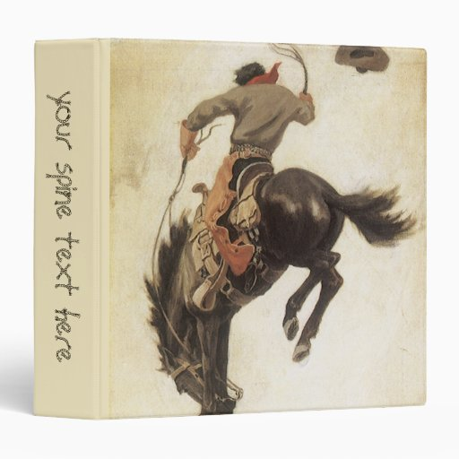 """Vintage occidental, vaquero en un caballo Bucking Carpeta 1 1/2"""""""