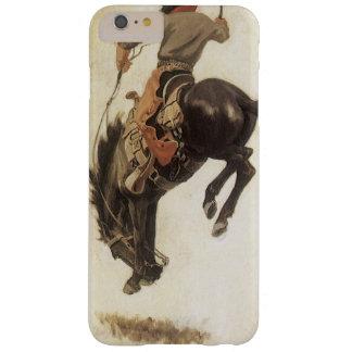 Vintage occidental, vaquero en un caballo Bucking Funda Para iPhone 6 Plus Barely There