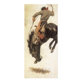 Vintage occidental, vaquero en un caballo Bucking Lona