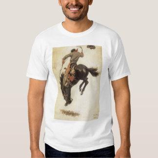 Vintage occidental, vaquero en un caballo Bucking Polera