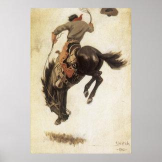 Vintage occidental, vaquero en un caballo Bucking Póster