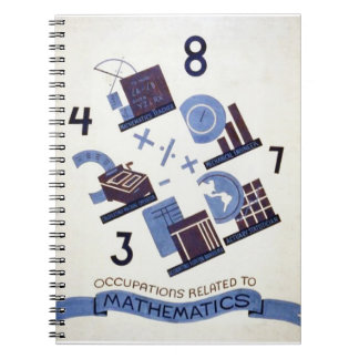 Vintage Occupations Related to Mathematics Poster Notebook