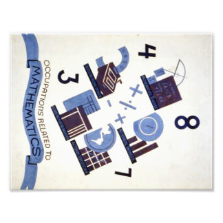 Vintage Occupations Related to Mathematics Poster Photo Print