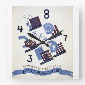 Vintage Occupations Related to Mathematics Poster Square Wall Clock