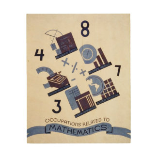 Vintage Occupations Related to Mathematics Poster Wood Print