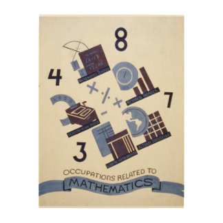 Vintage Occupations Related to Mathematics Poster Wood Wall Art