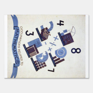 Vintage Occupations Related to Mathematics Poster Yard Sign