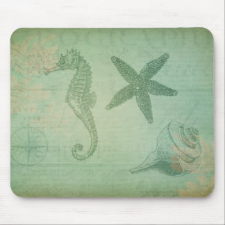 Vintage Ocean Animals and Seashells Mouse Pad