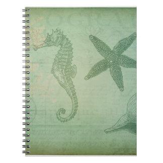 Vintage Ocean Animals and Seashells Notebook