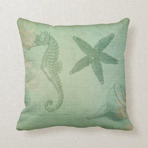 Ocean Animal Pillows : Vintage Ocean Animals and Seashells Pillows Zazzle