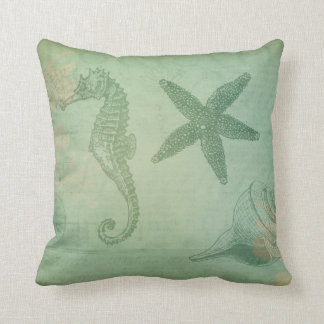Vintage Ocean Animals and Seashells Throw Pillow